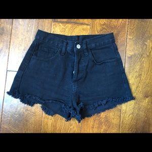 Black Denim Cutoff Shorts